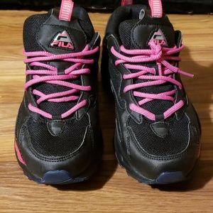Black,purple,and pink Filas